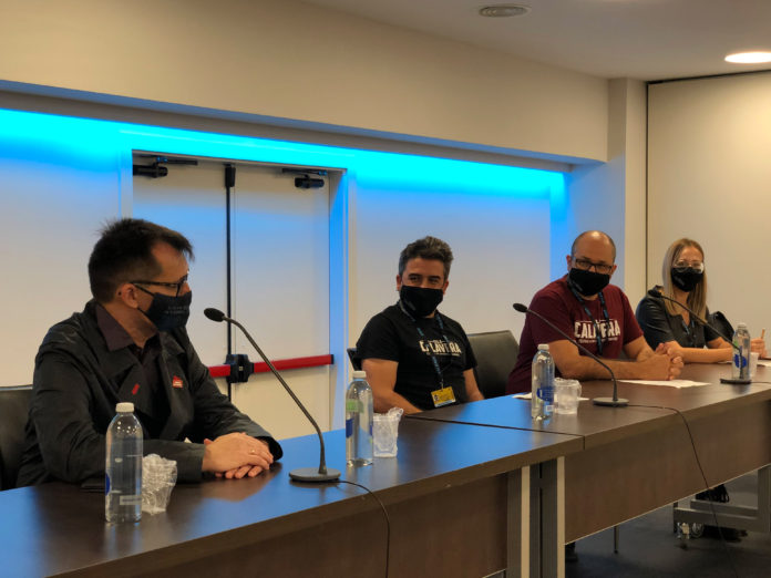 De izquierda a derecha, Ángel Sala, Ramón González Trujillo, Daniel Fumero y Vanesa Bocanegra, en la presentación en Sitges de un nuevo avance de programación del Festival Isla Calavera 2020.